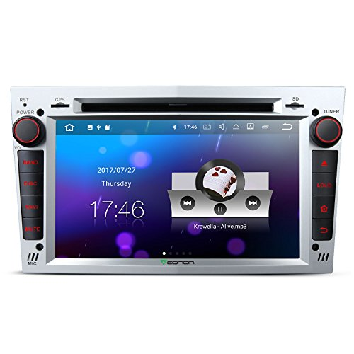 Auto Stereo-navigations-systeme (Eonon ga8155 Android 7.1 2 GB RAM Auto Stereo-Radio SAT NAV GPS Navigation für Vauxhall Opel Antara Corsa Astra Vectra Zafira Head Unit Auto CD DVD Player Touchscreen unterstützt Bluetooth Radio DAB + WiFi AV OUT Subwoofer silber)