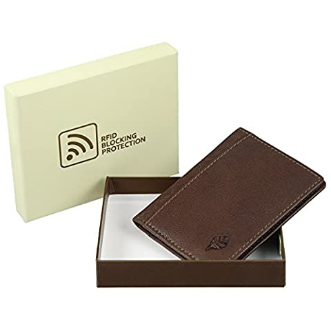 Slim en cuir de blocage RFID Porte-cartes: Fine en cuir: 3couleurs différentes Marron Marron clair