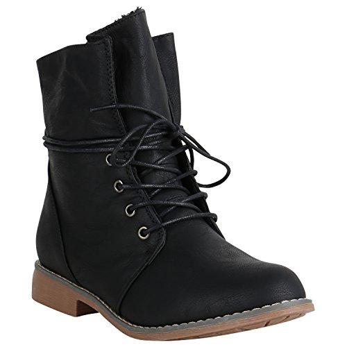 Stiefelparadies Damen Stiefeletten Schnürstiefeletten Leicht Gefütterte Boots Leder-Optik Schuhe Schnürboots 151505 Schwarz Brito 39 Flandell