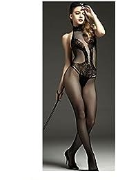 Netz Anzug, Damen, schwarze Spitze, durchsichtige Strumpfhose, Gr. S/M 34,36,38 Ganzkörper, langarm, Netz Strumpfhose, sexy, Fetisch Catsuit 66