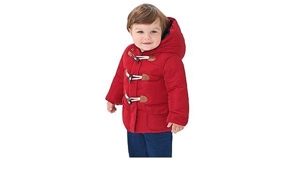 Boys Winter Coat Hoodie Toggle Jacket Dark Red LY1055R-18M