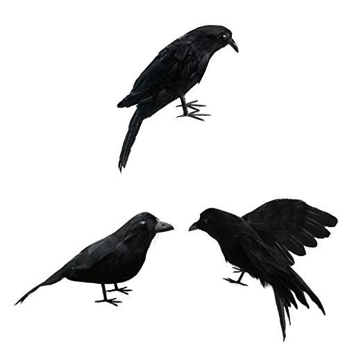 D DOLITY 3X Rabe Krähe Vögel Figuren mit schwarzen Federn, Gothic Dekor für Thema Party/Halloween