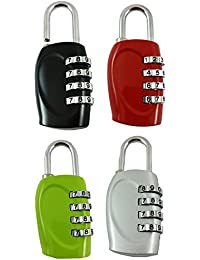 DOCOSS-PACK OF 4-4 Digit Brass Number Lock Small Bag Lock Travel Luggage Lock Resettable Password Locks Combination Locks Padlock (ASSORTED COLOUR)