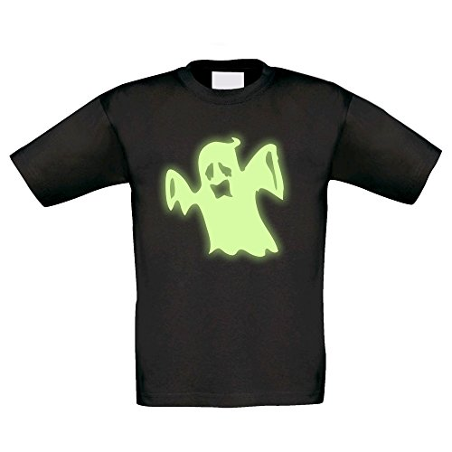 T-Shirt Kinder Halloween - Gespenst, schwarz-glow, (Kostüm Glow Girl Halloween)