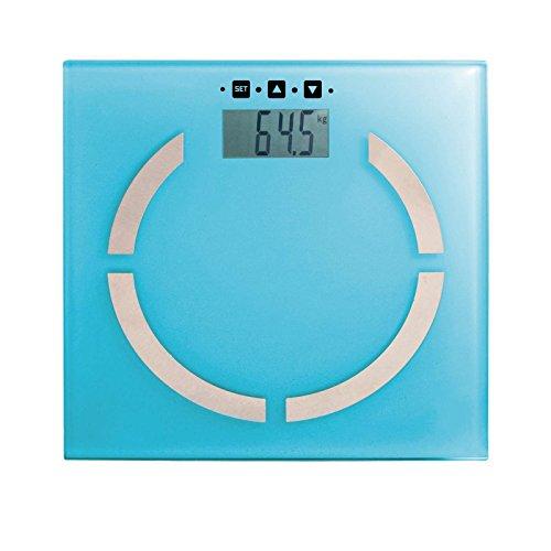 Digitale Analyse-Personenwaage Analyse-Waage Körperfett-Anteil BMI-Rechner Touch-Display (100 gr-Schritten, bis 180 kg, LCD Akku-Ladeanzeige, Speicherung für 10 Personen, Türkis)