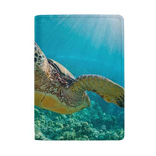 röte Mit Sunburst Im Hintergrund Unterwasser Blockieren Drucken Passinhabertasche Reisegepäck Passport Wallet Kartenhalter Aus Leder Für Männer Frauen Kinder Familie ()