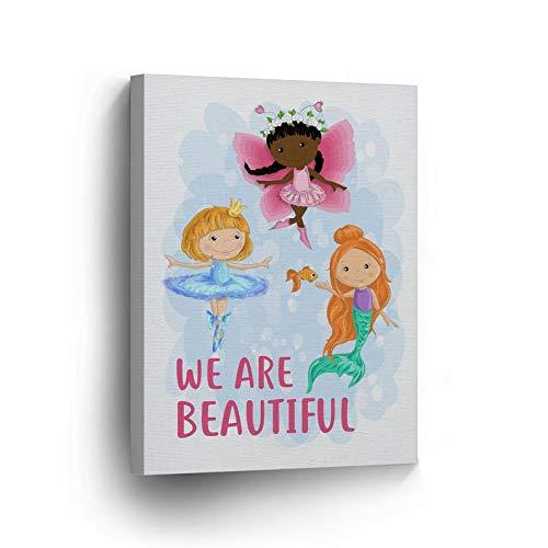 cwb2jcwb2jcwb2j Canvas Print We Are Beautiful Diversity Kids Blonde African American Art Redhead Kids Room Decor Wall Art Baby Girl Baby Gift Nursery Decor Redhead Wrap