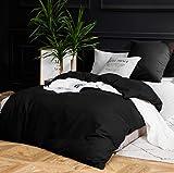 AYSW Sets de Housse de Couette 140x200cm+1 taie d'oreiller 65x65cm Noir Parure de Lit 1 Personne