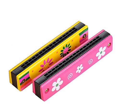 2 Stück Kinder Mundharmonika set Holz 16 Loch Doppel Tremolo Musikinstrumente Kinderspielzeug