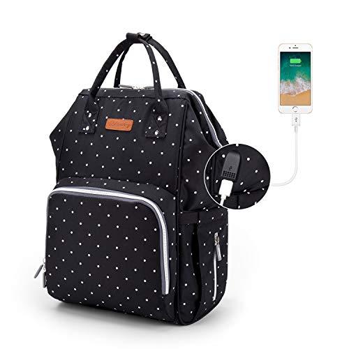 Baby Wickelrucksack, Ramotto Multifunktionale Wasserdichte Wickeltasche mit USB-Kabel Kinderwagen-haken Isolierte Tasche für Unterwegs, Große Kapazität (Schwarz Punkt) - Die Schmutzabweisenden Tücher