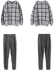 LIUDOU-Pijama de manga larga trajes de la casa de traje Pijamas de pareja verificado para los hombres y las mujeres fuera de la casa primavera Otoño , men , m