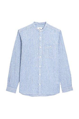 Next uomo camicia serafino in misto lino a maniche lunghe a righe texture blu m