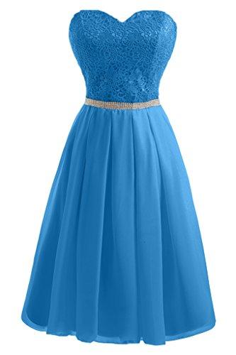 Milano Bride Kurze Chiffon Abendkleid Prom Partykleider Spitze A-Linie Herzform Abschlusskleider Strass Blau