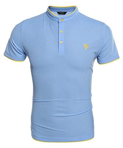 Aulei Poloshirt Herren Hemd Stehkragen Slim Fit Kurzarm Elegante Stil Männer Freizeit Haushemd Blau