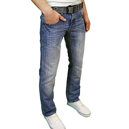 Crosshatch Herren Designer Vintage Wash Regular Fit, Straight Leg Jeans w/Gürtel Blau - Stonewash