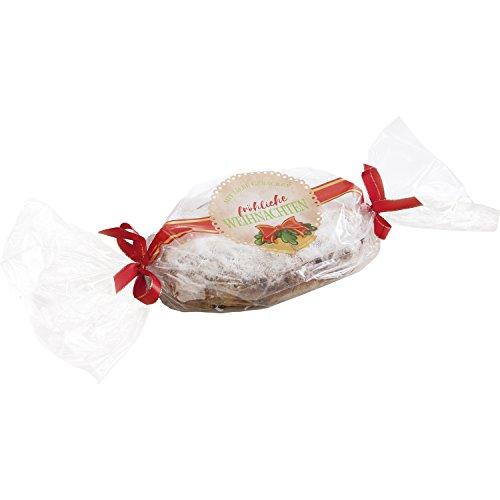 folia 295 - Stollenschläuche mit Weihnachtsdruck, ca. 25 x 64 cm, 2 Stück - die ideale Verpackung für Ihre selbst gebackenen Stollen