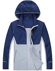 HHORD Protector solar chaqueta de la ropa de la piel de gran tamaño de los hombres fina al aire libre respirable velocidad secar la ropa de verano , treasures blue , 4xl