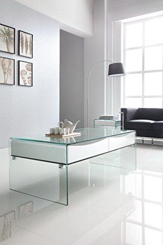 Design Couchtisch Stylus aus Glas klar | 120 x 60 x 43cm | mit Glaszwischenboden und Aufbewahrungsboxen | Wohnzimmer Glastisch aus einem Stück gebogen | hochwertig verarbeitet -
