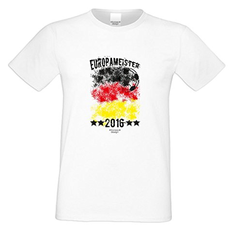 Das Fun T-Shirt zur Fußball EM 2016 in Frankreich Europameister 2016 Deutschland Public Viewing Party Outfit Farbe: weiss Weiß