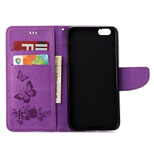 Custodia per Apple iPhone 6 Plus, ISAKEN iPhone 6S Plus Flip Cover, 5.5 inch Custodia con Strap, Elegante Sbalzato Embossed Design in Pelle Sintetica Ecopelle PU Case Cover Protettiva Flip Portafoglio Farfalla: violet