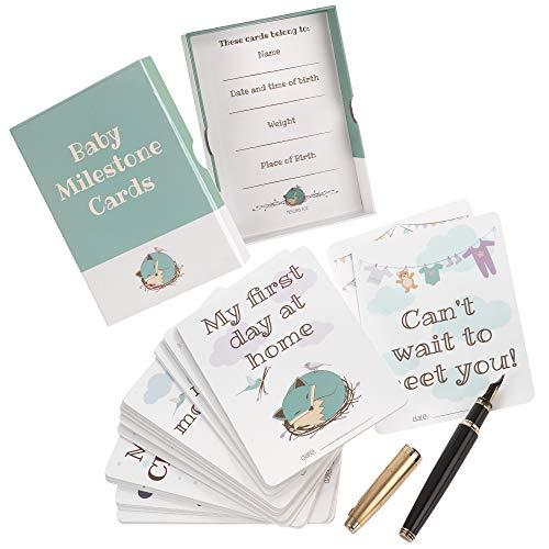 Baby Meilenstein-Karten von Nested Fox (Unisex-Fotokarten in Andenkenschachtel), Geschenk für einen Jungen oder ein Mädchen, inklusive 5 personalisierten Speicherkarten