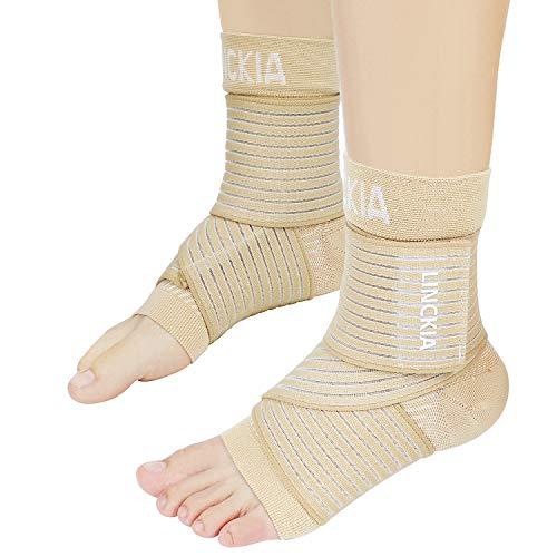 Bandage Fußgelenk set LINCKIA 2 in 1 Kompressionssocken Knöchel Bandage Sprunggelenk Fußgelenk Sprunggelenkbandagen Knöchelbandage für Damen Herren (S/M, Nude)