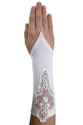 Schicke fingerlose Kommunionhandschuhe Handschuhe zur Kommunion, Spitze, Perlen, Mädchen KA-41