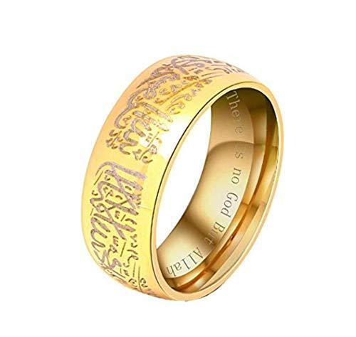HIJONES Ring Islamischer Muslim Shahada Männer Rostfreier Stahl Gold Größe 70