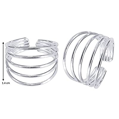 ELOISH Sterling Silver 5 Line Toe Rings for Women (Pack of 2)