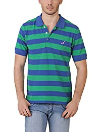 American Crew Men's Polo Stripes T-Shirt (Green & Blue)