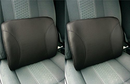 2x Leather Look Grey Pillow Lumbar Back Support...