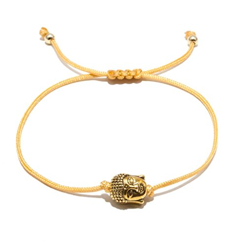 Jahamota Buddha-Armband-Damen-Herren Buddhismus Good Karma Silber Vergoldet HANDMADE - Yoga-Armbänder Größenverstellbar mit Echtheitszertifikat