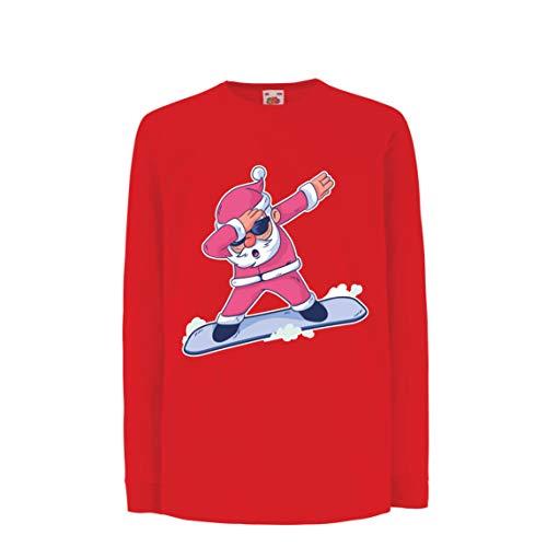 lepni.me Kinder-T-Shirt mit Langen Ärmeln Weihnachten Dab, Dabbing Weihnachtsmann, Weihnachtsfeiertags-Shirt (14-15 Years Rot ()