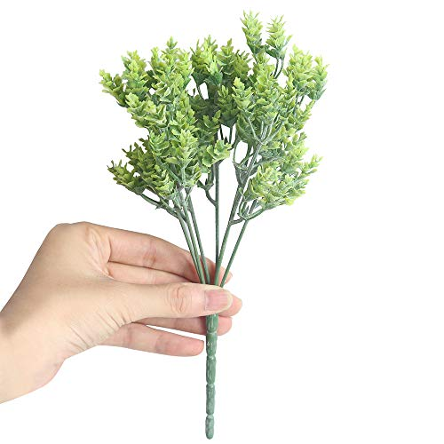 BZLine Kunstblumen, Künstliche Gefälschte Blumen, Kleine Frische Blätter Gras Pflanze Bouquet Grün Sträuche Pflanzen Indoor Außerhalb Hängende Pflanzer Hausgarten Hochzeit Dekor (Grün, 24 cm) (Hängende Orchidee Pflanzer)