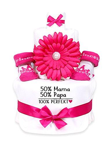 Babygeschenk Pink WINDELTORTE Mädchen '50% Mama, 50% Papa, 100% PERFEKT'weißes Lätzchen und 1x pink Babysocken +Haarband pink Blume |...