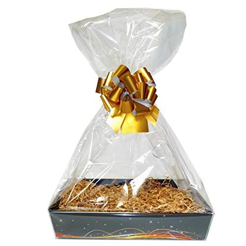 Jaffa Imports Geschenkkorb-Set - schwarz-goldfarbenes Tablett aus Karton, Manila-Schuppen, Goldfarbene Schleife, Cello-Tasche und Goldfarbene Geschenkanhänger (mittelgroß, 30 x 20 x 6 cm hoch)