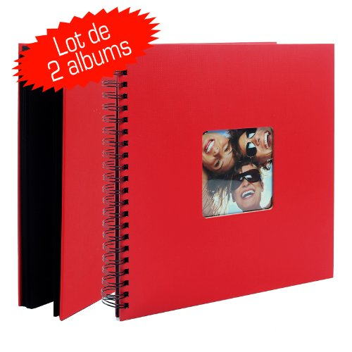 Lotto di 2 album portafoto con rilegatura a spirale, 50 pagine nere, Fun, colore: rosso