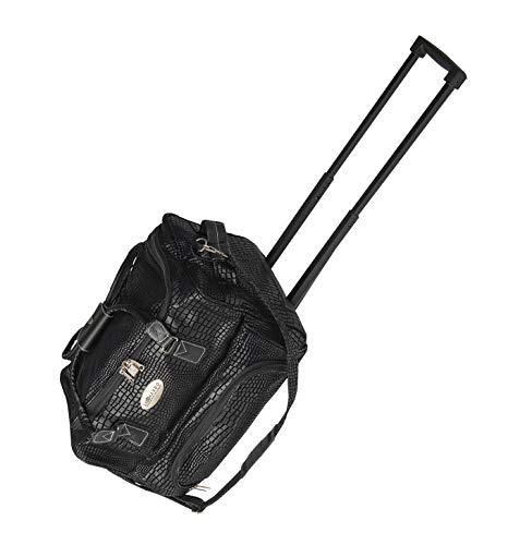 Leonardo Bag Trolleytasche Kunstleder Reisetasche Safari Reise Trolley Handgepäck Tasche Lederoptik Schwarz - Safari Trolley