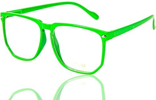 WOODY Nerdbrille Grosse Gläser Neon Grün Nerd Brille Pantobrille ()