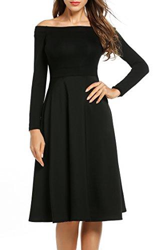 9a858f4870 Meaneor-Damen-Schulterfreies-Kleid-Langarm-Abendkleider -Cocktailkleider-Midikleid-