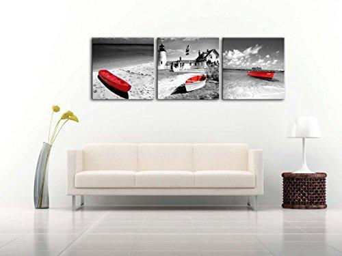 Lienzo Pintura para Home Decor blanco y negro Histórico Barcos faros con rojo de paisaje de playa en estilo vintage en Bristol Dot Coastal Maine Inglaterra 3piezas Panel giclée de cuadros moderno arte enmarcado y estirado sobre la imagen para decoración de la sala de estar fotos Impresiones de fotos sobre lienzo de paisaje