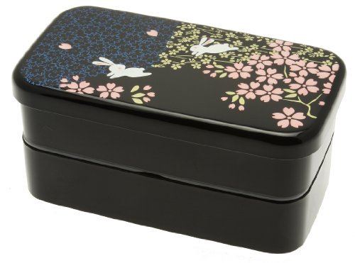 Kotobuki 2-Tiered Bento Box, Rabbit and Cherry Blossom by Kotobuki