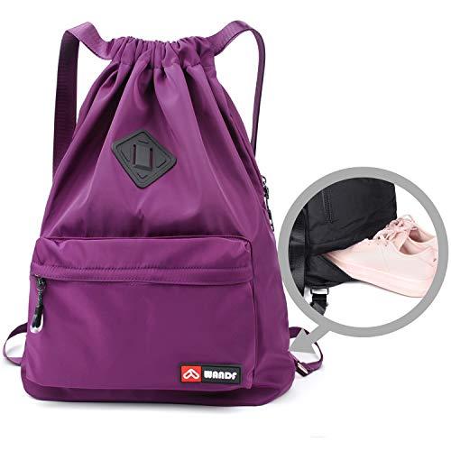 WANDF Wasserdichte Rucksack mit Teleskopischem Schulterriemen, für Einkauf und Sport Yoga (Lila Upgrade)