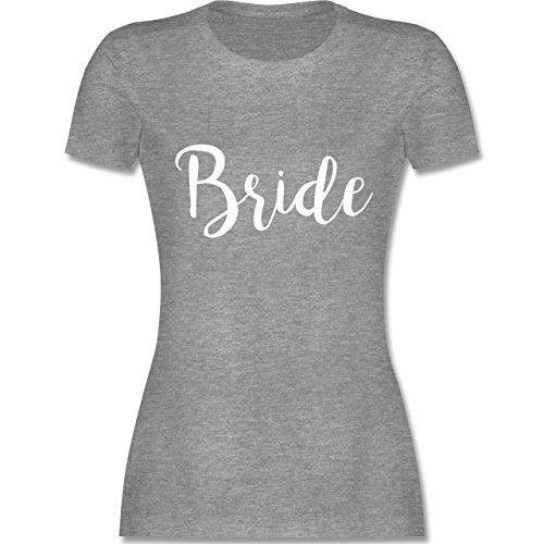 Shirtracer JGA Junggesellinnenabschied - Bride Lettering - Damen T-Shirt Rundhals Grau Meliert