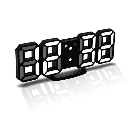 JCH Réveille-Matin 3D LED Digital, Horloge Murale, Horloge numérique, Timorn Réveil LED 3D avec 3 Niveaux de luminosité réglables Fonction de répétition de la veilleuse Dimmable