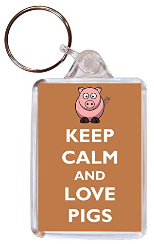 Keep Calm and Love Pigs / Pig - Double Sided Large Keyring Gift/Present/Souvenir
