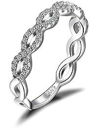 JewelryPalace Unendliche Infinity Zirkonia Motivring Verlobungsringe Trauringe Damenring Hochzeitsring 925 Sterling Silber Größe 51 to 59