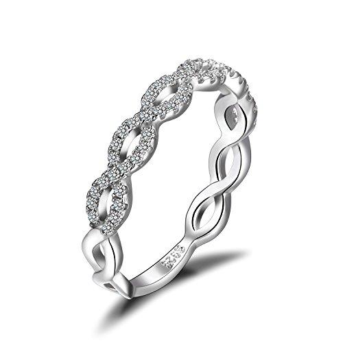 JewelryPalace Magnifique Bague de Fiançailles Femme Infini Alliance Mariage Anniversaire en Argent Sterling 925 en Zircon Cubique de Synthèse CZ Taille 52