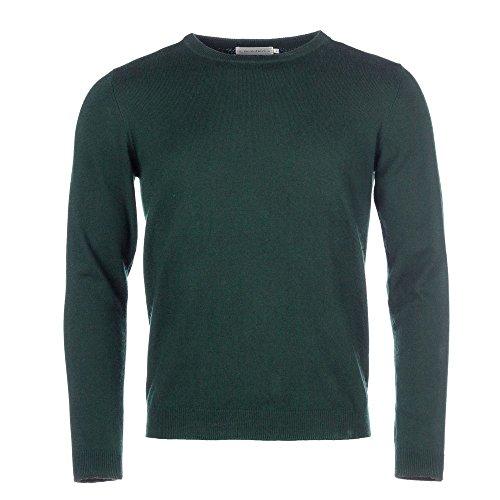 ALLBOW Dunkel-Grüner Pullover Ellenbogen-Patches, Herren-Pulli Rundhals Petrol Beige