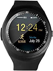 Piqancy New Y1 Smart Watch with SIM Card, SD Cart, Activity Tracker, Fitness Band, PhoneWatch for Android iOS Mobile Tablet PC iPhone 4S/5/5S/6/6S/6 Plus/6S Plus, Samsung, Song, LG, HTC, Huawei, ZTE, Oppo, Xiaomi . Black